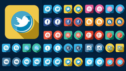 56 Flat Style Animated Social Icons Plantilla de After Effects
