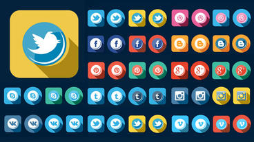 56 Flat Style Animated Social Icons After Effects Template