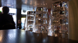 Stacked Glass Cups in a Cafe Footage