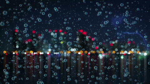 slowmotion rain and blurred night city loopable animation 4k (4096x2304) Animation
