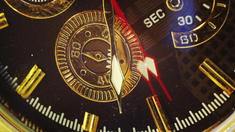 Extremly Close-up Of Gold Watch Timelapse 4k (4096x2304) stock footage