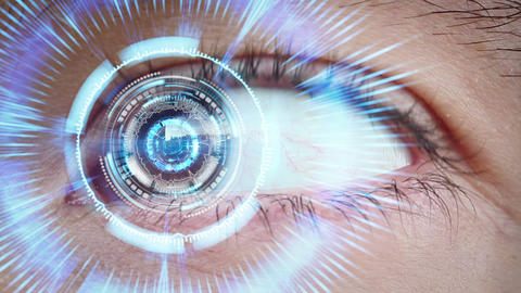close-up of high tech cyber eye Footage