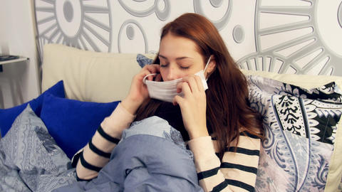 Cold flu illness women in medicine healthcare mask Footage