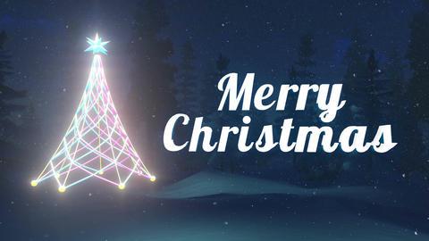 Merry Christmas animation at snowfall night Animation