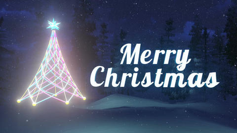 Luminous Merry Christmas and Christmas tree Loopable Animation