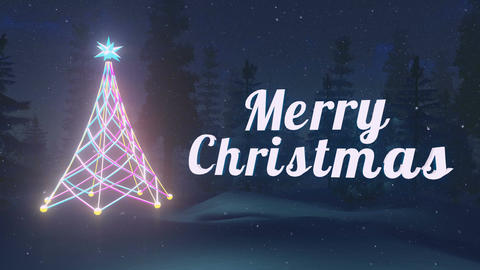 Animated Merry Christmas at dark night Loopable Animation