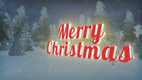 Animated Merry Christmas at snowfall night Animation