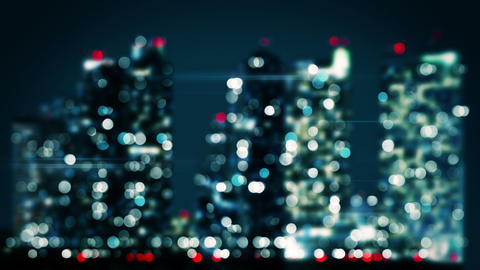 bicolor blurred lights of skyscrapers in night city loop 4k (4096x2304) Animation