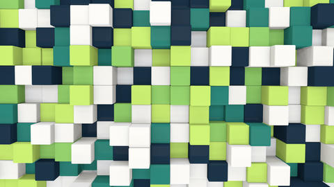 white and green 3D boxes moving seamless loop 4k UHD (3840x2160) Animation