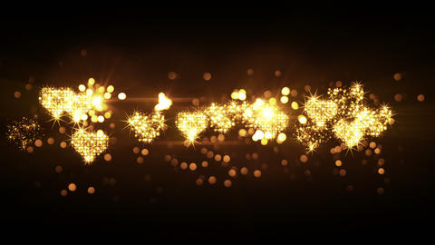 glittering heart shapes from firework bursts loop 4k (4096x2304) Animation