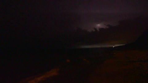 Lightning Storm At Night Along Beach Shoreline stock footage