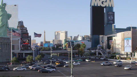 LAS VEGAS, NEVADA - CIRCA APRIL 2015: View Of Buildings And People On Streets Of stock footage