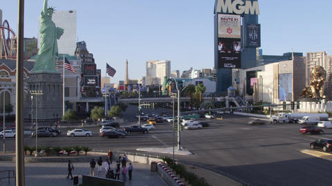LAS VEGAS, NEVADA - CIRCA APRIL 2015: View of buildings and people on streets of Footage
