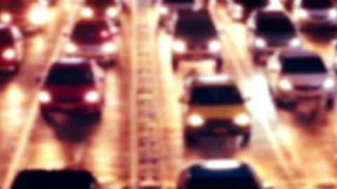 Highway night view with moving cars. Abstract cityscape blurred background Footage