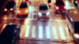 Busy city street night view with moving cars. Bangkok, Thailand Footage