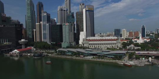 aerial flight pan over marina bay CBD Footage