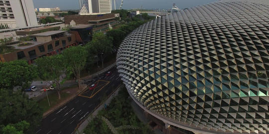 rising aerial over the Singapore esplanade Footage