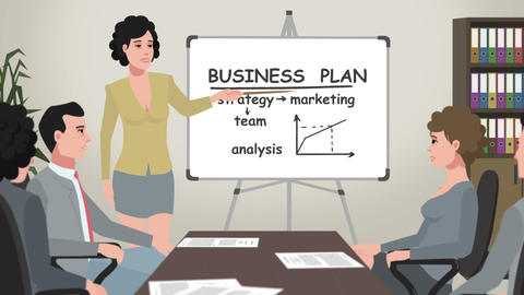 Cartoon Corporate / Woman Shows Business Plan Animation