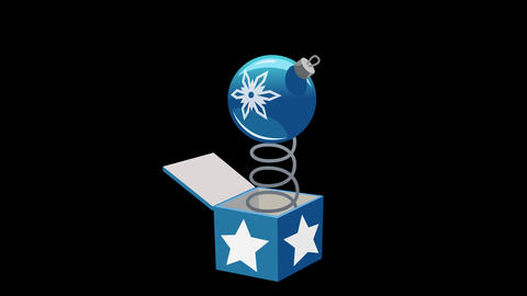 Blue Christmas tree toy out of the box. Animated element with Alpha Animation