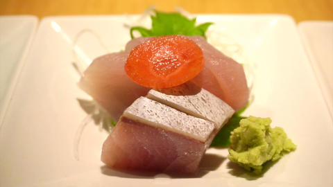 Japanese traditional variety food, sushi, nigiri, set food sashimi cut scenes vi Footage