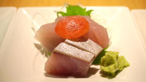 Japanese Traditional Variety Food, Sushi, Nigiri, Set Food Sashimi Cut Scenes Vi stock footage
