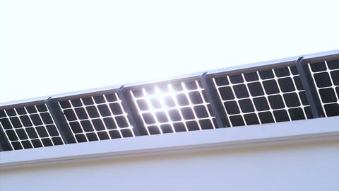 Sun light shine through solar cell roof Footage