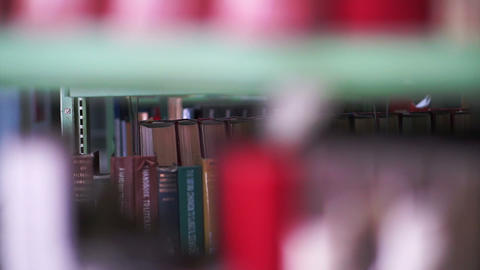 Bookshelves in university library Footage