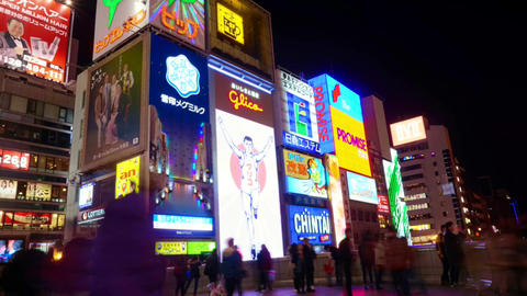 OSAKA, JAPAN - March 2015 - Time-lapse shot of Glico billboard Osaka landmark in Footage