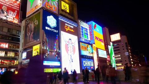 OSAKA, JAPAN - March 2015 - Time-lapse shot of Glico billboard Osaka landmark in Footage