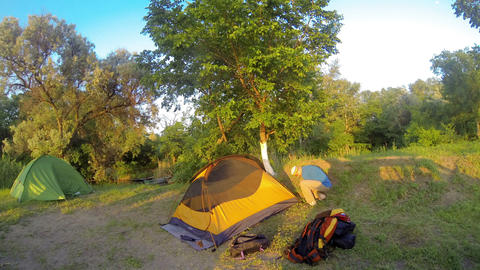 Assembling a tent on the nature Footage
