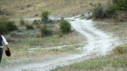 Couple run on road Footage