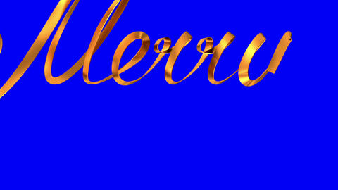 """Writing Golden Ribbon Text """"Merry Christmas"""" Over Blue Background Animation"""