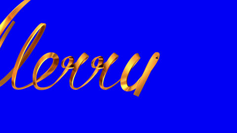 "Writing Golden Ribbon Text ""Merry Christmas"" On Blue Background Animation"