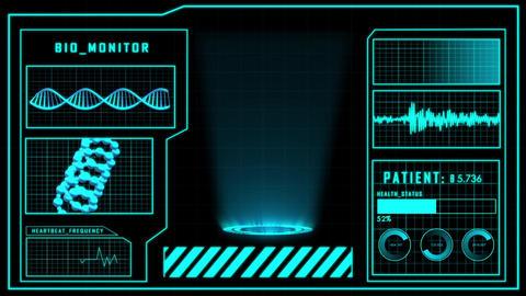 Science fiction medical design element HUD panel for presentation or detection Animation