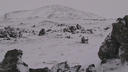 Snow covered volcanic rock Footage