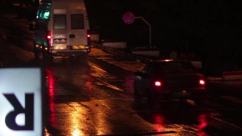 Car traffic on a rainy night 03 Footage