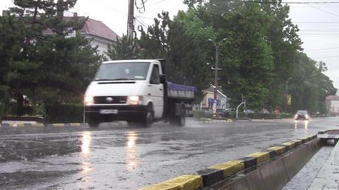 Car traffic on heavy rain 11 Footage