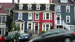 Canada Newfoundland St. John's 031 strong ascending street with colorful homes Footage