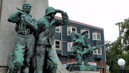 Canada Newfoundland St. John's 006 War Memorial In Downtown Near Harbor stock footage