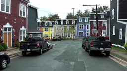 Canada Newfoundland St. John's 009 colorful houses and cars in residential stree Footage