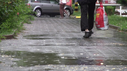 Pedestrian traffic in the rain 01 Footage
