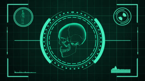 Science fiction medical design element of human skull… Stock Video Footage