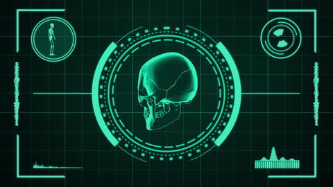 Science Fiction Design Element Of Human Skull Presentation Or Searching HUD Pane stock footage