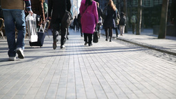 Worm's Eye View of Pedestrians Walking in London Live Action
