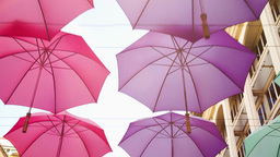 Street Decoration With Umbrellas In City Passage Of Port Louis stock footage