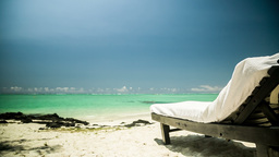 Sun Chair At Beach In Mauritius stock footage