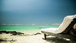 sun chair at beach in Mauritius Footage