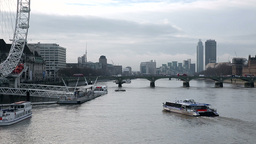 Thames River ship and London eye Footage