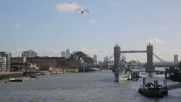 Tower Bridge with Boats on River Thames three Footage