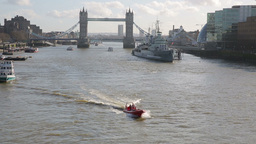 Tower Bridge with Boats on River Thames four Footage